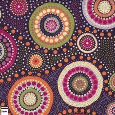 Tissu coton cercles aborigènes par 10 cm - réf 2578