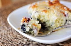 This blueberry coconut cake with lemon sauce is deliciously moist and light and tastes like a perfect muffin in cake form.