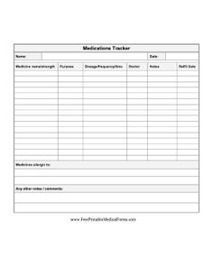 A simple form for recording medications taken, dosage, and other details. Free to download and print