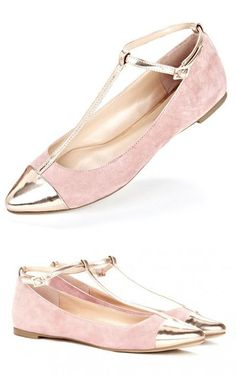 Rose Gold T-strap Flats <3