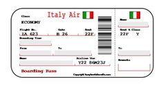 Italy Boarding Pass - Printable for a pretend trip