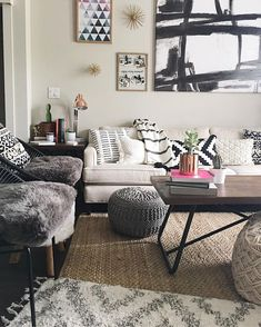 "A quick peek into my modern bohemian living room! Neutral decor with pops of color! Comfy-chic and plenty of cacti styling!  -Nickie Vu (@nickievu) on Instagram: ""I love to fill a space with layers, whether it be pillows or art! A new trend for interior styling…"""