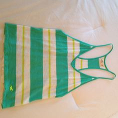 Easy Fit Hollister Co. Beach Tank Green and white stripped tank, razor back, easy fit, no tags but never worn Hollister Tops Tank Tops