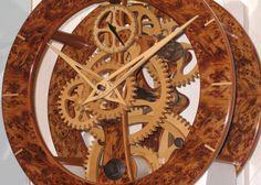 Wooden clock made by David Bowerman. http://diy-woodworking-plans.com