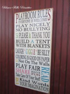 Playroom Rules Typograhpy Children Word Art Subway Heavily Distressed Vintage Style Wood Sign Wall Decor