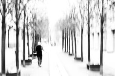 between trees - between trees A Young woman with hat goes on a path with trees in Berlin. Motion blur allow the trees to the sky merge. Abstract black and white street photography from Berlin. #street  #streetphotography #abstract #blackandwhite #photography