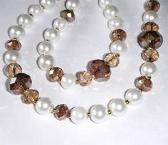 """White & topaz brown crystal & pearl glass bead necklace. 21"""" long (53.5cm)"""