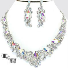 HIGH END AURORA BOREALIS CHUNKY CRYSTAL WEDDING FORMAL NECKLACE JEWELRY SET   #Unbranded