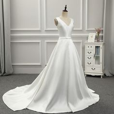 V-Neck Lace Up Back Satin Elegant Wedding Dress - Uniqistic.com