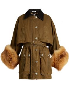 Fur-cuff waxed-cotton coat | Miu Miu | MATCHESFASHION.COM US