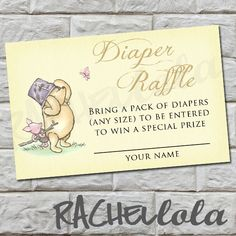 Diaper Raffle, Classic Winnie the Pooh, Baby Shower, Instant Download on Etsy, $5.00