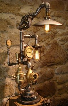 Steampunk lamp with two Edison bulbs, and led light in steam gauge and also in other parts, made by Steampunkwally Vintage Industrial Lighting, Industrial Light Fixtures, Industrial Lamps, Industrial Design, Light In, Lamp Light, Barn Lighting, Lighting Design, Pipe Lighting