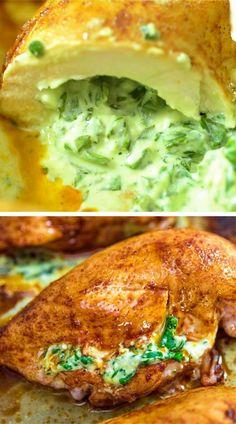 Healthy Dinner Recipes, Keto Recipes, Vegetarian Recipes, Cooking Recipes, Crockpot Recipes, Spinach Stuffed Chicken, Healthy Stuffed Chicken Breast, Breast Recipe, Share Photos