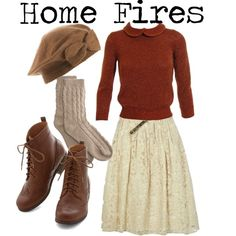 1940s // home fires inspired by onceuponanovel on Polyvore featuring Jil Sander, River Island and Bamford