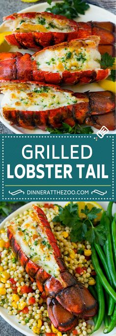 Grilled lobster tail drizzled with garlic butter is an easy and elegant dinner option. Bbq Lobster Tails, Grill Lobster Tail Recipe, Grilled Lobster Tails, Cooking Lobster Tails, Grilled Seafood, Best Seafood Recipes, Lobster Recipes, Fish Recipes, Lobster Dishes