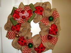 Christmas Burlap Wreath by TheTallyTales on Etsy