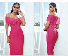 Red Off Shoulder Short Sleeves Midi Bodycon Bandage Dress – Larole