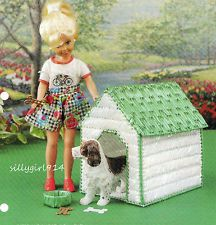 In The Doghouse ~ fits Barbie dolls, Annie's plastic canvas pattern leaflet NEW Plastic Canvas Crafts, Plastic Canvas Patterns, Magazine Crafts, Annie, Canvas Designs, Canvas Ideas, Diy Canvas, Barbie Furniture, Dollhouse Furniture