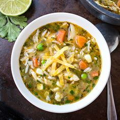 A divinely delicious and comforting soup full of savory chicken, vegetables, rice and spices.