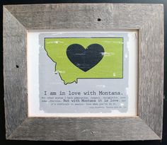 Framed Montana LOVE State Map Canvas with John by WarbleswithBella, $50.00
