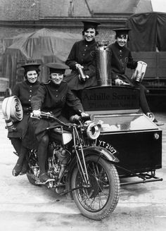 Women of Achille Serre Ltd's Private Fire Brigade setting off on their motorcycle and sidecar to compete in the London Private Fire Brigades' Tournament, 1925.