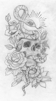 skull with snake and roses