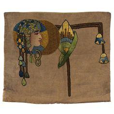Arts \u0026 Crafts pillowcase dyed and embroidered Egyptian motif 16.5\u201d x 19.5\u201d