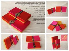 Our Double Colour Satin Top Box: Pink and Purple Satin with a golden base and metal, jewel and lace embellishments!