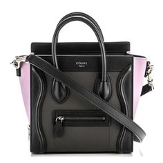 8ba53f8f07c60 This is an authentic CELINE Smooth Drummed Calfskin Tricolor Nano Luggage  in Anthracite. This petite