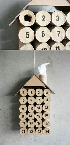 Calendario avvento... make with cardboard and toilet paper rolls. Put scriptures of Christ inside with chocolate.