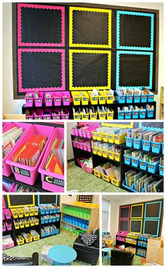 How adorable is this classroom library? I love the 3 distinct shelf colors.
