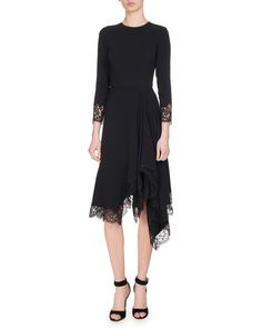 Givenchy Asymmetric Chantilly Lace-trimmed Cady Dress In Black Lace Dress, Dress Up, Givenchy Women, Chantilly Lace, Bergdorf Goodman, Black Silk, Dress Making, Neiman Marcus, Lace Trim