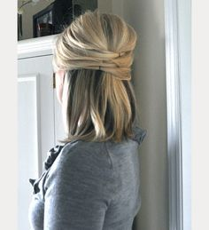 Medium length hair crisscross half up half down ~ we ❤ this! moncheribridals.com
