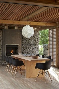 Best Ideas For Modern House Design & Architecture : – Picture : – Description Modern Home Design by the Urbanist Lab Outdoor Rooms, Outdoor Dining, Dining Area, Dining Table, Indoor Outdoor, Rustic Outdoor, Rustic Table, Outdoor Stone, Outdoor Kitchens