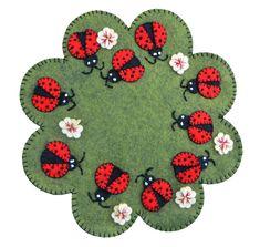 Lumenaris Ladybug Garden Wool Felt Mat Kit Lt Green by happyvalleymercantil on Etsy Penny Rug Patterns, Wool Applique Patterns, Felt Applique, Felted Wool Crafts, Felt Crafts, Fabric Crafts, Sewing Crafts, Ladybug Garden, Wool Embroidery