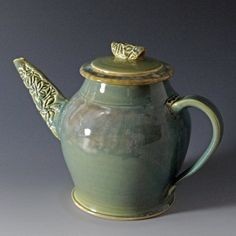 Stoneware Teapot with Wildflowers in Aquamarine Celadon by foxpots