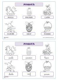 Vocabulaire de Pâques 12 fiches pour la maternelle (PS, MS GS) pour découvrir, lire et écrire les mots du vocabulaire de Pâques (le lapin, la poule, le poussin, l'œuf, le panier et la cloche).