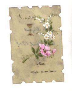 Carte celluloïd fleurs Doux asile de mes âmes Alice Alizant 21 avril 1902