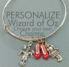 Wizard of Oz Customize Inspired by, Charm Bracelet Personalized Gift, Dorothy, Toto, Tin Man, Lion, Scarecrow, No Pace Like Home, yellow by Arrimage on Etsy