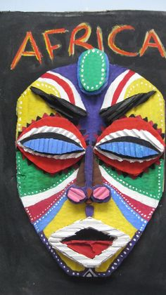 Lovely cardboard mask made from layering of cardboards for theme Africa: