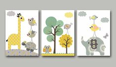 "Art for Children , Kids Wall Art, Baby Room Decor, Nursery print,set of 3 8"" x 10"" Print,bird,gray,green,yellow,artwork,collage,decoration. $42.00, via Etsy."