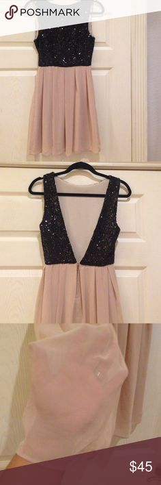 Deep V Back Black/Tan Sequin Party Dress Deep V back. Lined sheer billowy skirt. Zip up back at bottom of the V. No know flaws. Size small. By Josh & Jazz. GREAT BRAND!! Tan and black. Josh & Jazz Dresses Mini