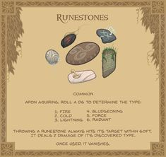 Runestones - Mostly found in ancient groves or burial sites, These pebbles are infused with lingering elemental energies. For what purpose is unknown, but their ability to gravitate towards distant targets makes them popular as lucky talismans. Fantasy Weapons, Fantasy Rpg, Fantasy World, Dungeons And Dragons Homebrew, D&d Dungeons And Dragons, Dnd Dragons, Dungeon Master's Guide, Dnd 5e Homebrew, Dnd Monsters