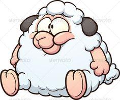 Fat Cartoon Sheep by memoangeles Fat sheep clip art. Vector cartoon illustration with simple gradients. All in a single layer. Fat Cartoon, Sheep Cartoon, Happy Cartoon, Memes Chats, Sheep Drawing, Goat Logo, Sheep Vector, Cute Sheep, Cartoons Love