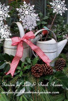 Rustic Watering Cans Windowboxes ~ Plan a theme that will last all winter using what you have! http://ourfairfieldhomeandgarden.com/rustic-watering-cans-windowboxes-more/