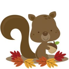 Miss Kate Cuttables Fall Squirrel SVG