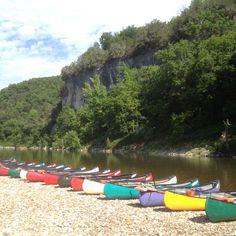 Canoes on the Buffalo River near Marshall Arkansas. Ozark National Forest.