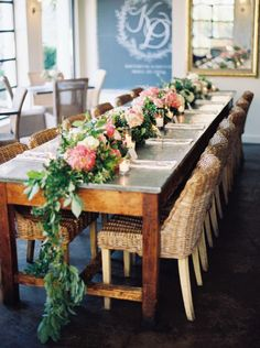 chic green and pink wedding reception centerpiece; photo: Katie Grant Photography