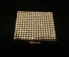 1940s Rhinestone Cigarette Case Gold Tone and by classiccollector