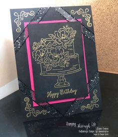 Stampin up, stampin up demonstrator, demonstrator, Netherlands, den haag, cardmaking, paper, crafting, stampin up Nederland, love, share, friends, share, create, creative, The Hague, stamping, stamps, birthday, party, happy birthday, embossing, presents, gefeliciteerd, gold, black, pink, SAB, sale-a-bration, cake, happy birthday to you,